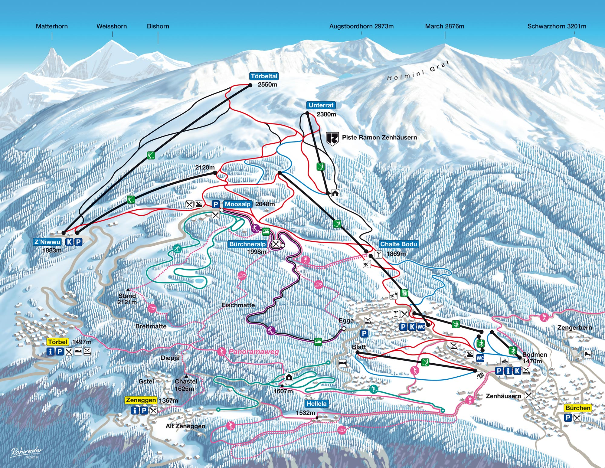Buerchen Moosalp Winter Pistenplan Ski Trail Map