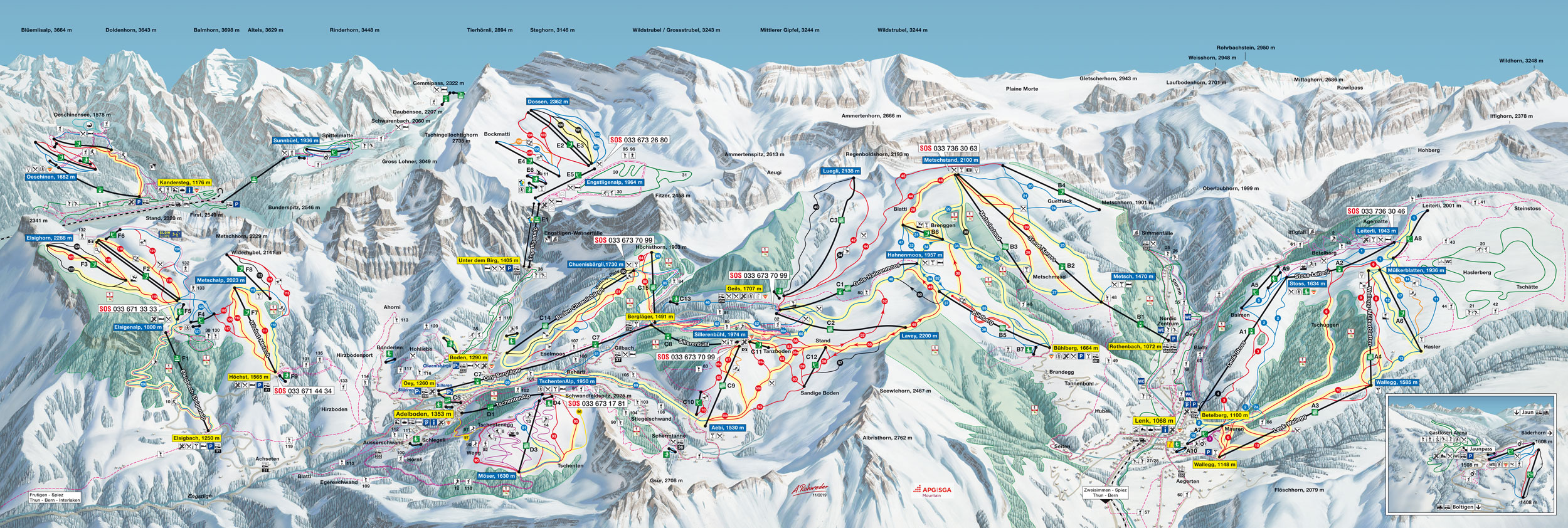Adelboden Lenk Winter Pistenplan Ski Map