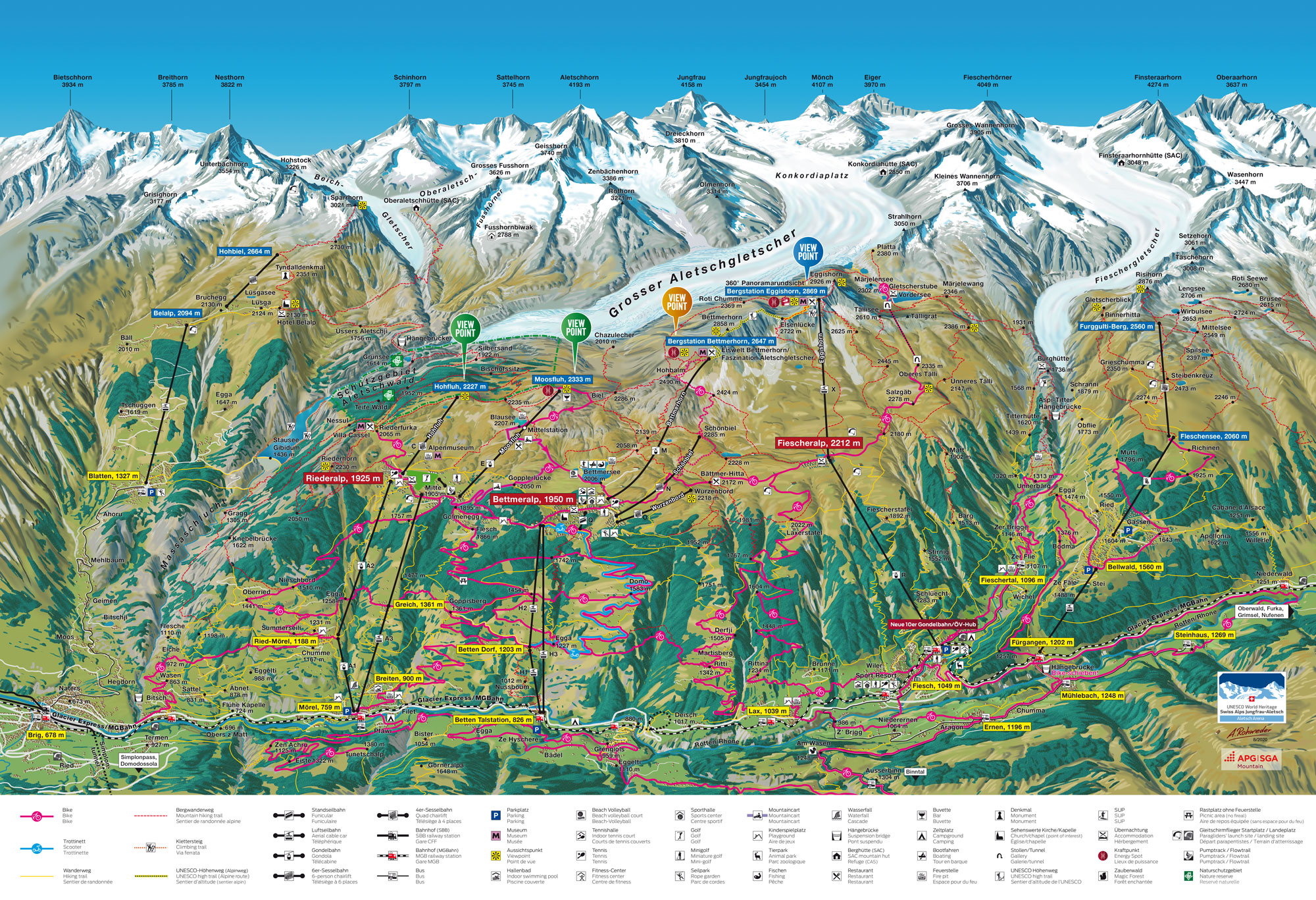 Aletsch Sommer Bike Karte Map