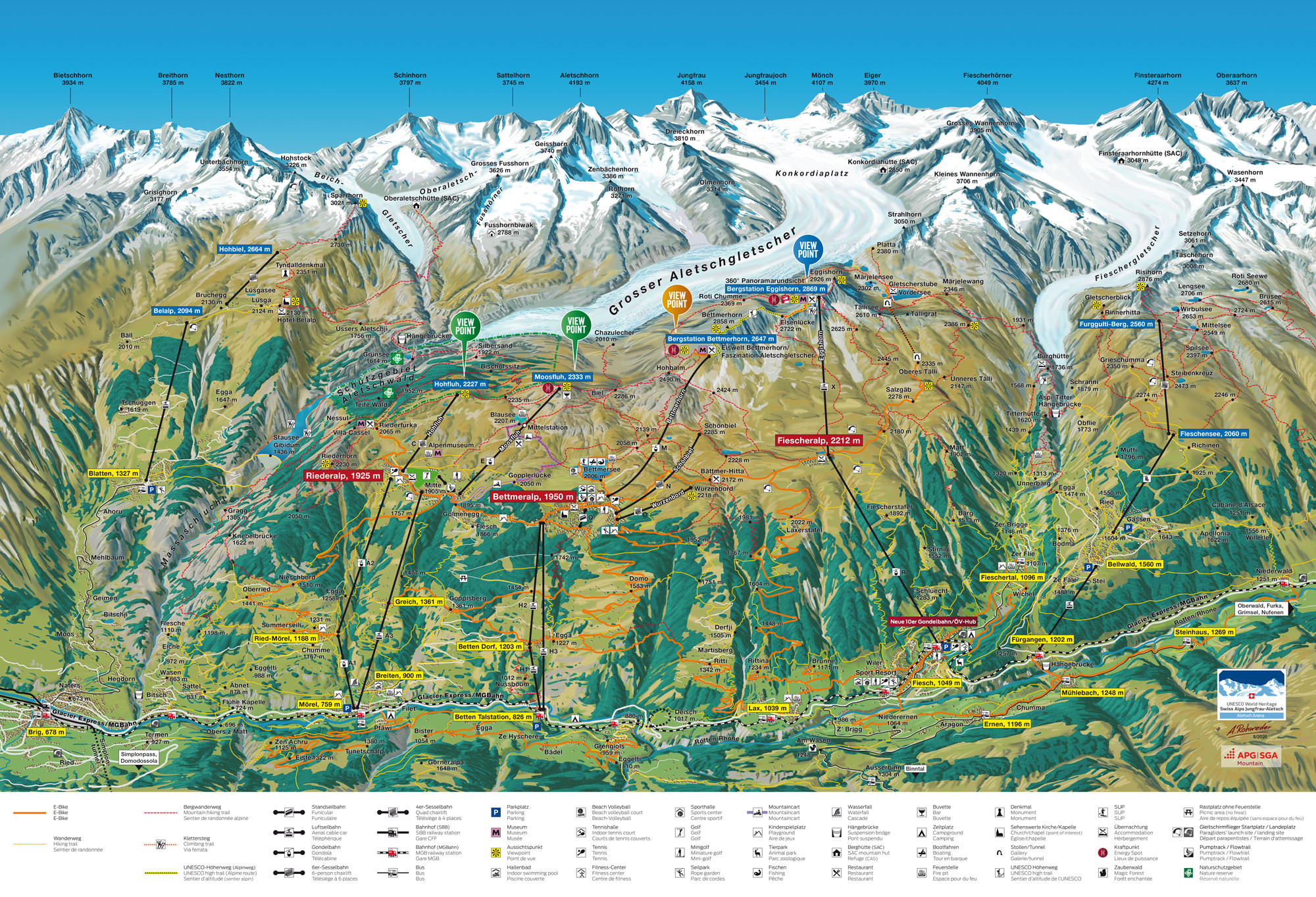 Aletsch Sommer E Bike Karte Map